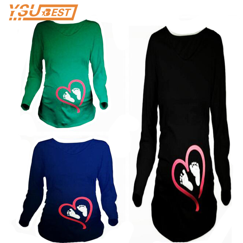 Funny Prints Love Ankle Maternity Tees Pregnancy T Shirt Women Long Sleeves Winter Casual Maternity Clothes For Pregnant Women