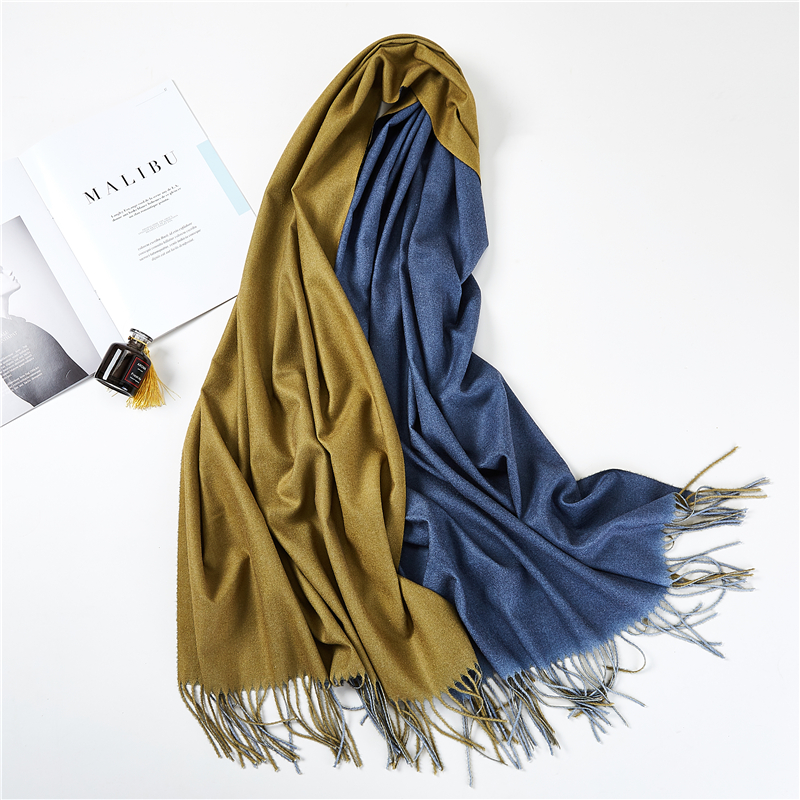 2019 Winter women scarf fashion double face cashmere scarves for ladies pashmina shawls and wraps bandana female foulard Tassel in Women 39 s Scarves from Apparel Accessories