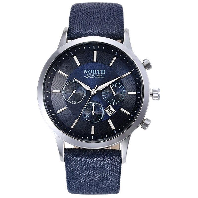 NORTH Sports Luxury Mens Leather Band Analog Quartz Watches Wrist Watch Colour:Blue fabulous 2016 quicksand pattern leather band analog quartz vogue wrist watches 11 23