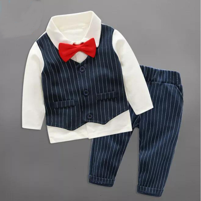 Children Set Clothing  Autumn Newborn Boy Long Sleeve Baby Gentleman Fake 2 Pcs Infant Christmas Costume Clothes England Style baby rompers clothing new fashion autumn newborn baby boy long sleeve baby set barboteuse clothes gentleman infant pajama