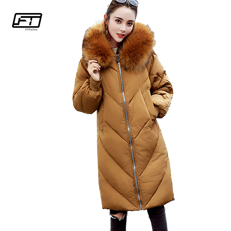 Fitaylor 2017 Winter Loose Cotton Padded Coat Women Thick Fur Collar Hooded Parkas Mujer Warm Jacket Coat Medium Long Overcoat 2017 winter classic fashion fur hoodie coat jacket women thick warm long sleeve cotton coats student medium long loose overcoat