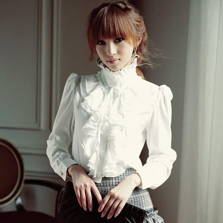 Big Size 5XL Elegant Women Office Blouse Shirts Ladies Ruffle Long-Sleeve Ruffles Collar Spring Autumn Female Shirt Tops Blusas