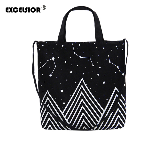 Excelsior модные случайные сумки холст сумка черный вселенная шаблон печатной сумки леди повседневная сумка bolsa feminina