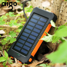 Aigo 10000mAh Portable 2 USB Compact Waterproof Powerful LED Light Solar Power Bank External Battery Quick Charger With Hook