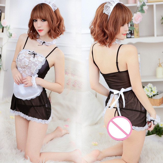 Hot Ladies Temptation Lace Floral Nightdress Sexy Apron Service Cosplay Lingerie