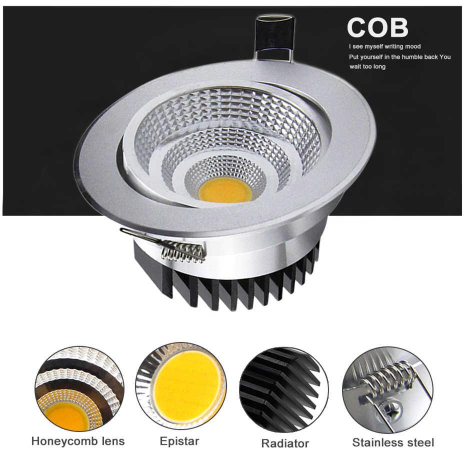 [DBF]Adjustable Sudut Dimmable LED COB Downlight 6W 9W 12W 18W Tersembunyi Lampu Langit-langit AC110V 220V Downlight Lampu Dekorasi Rumah