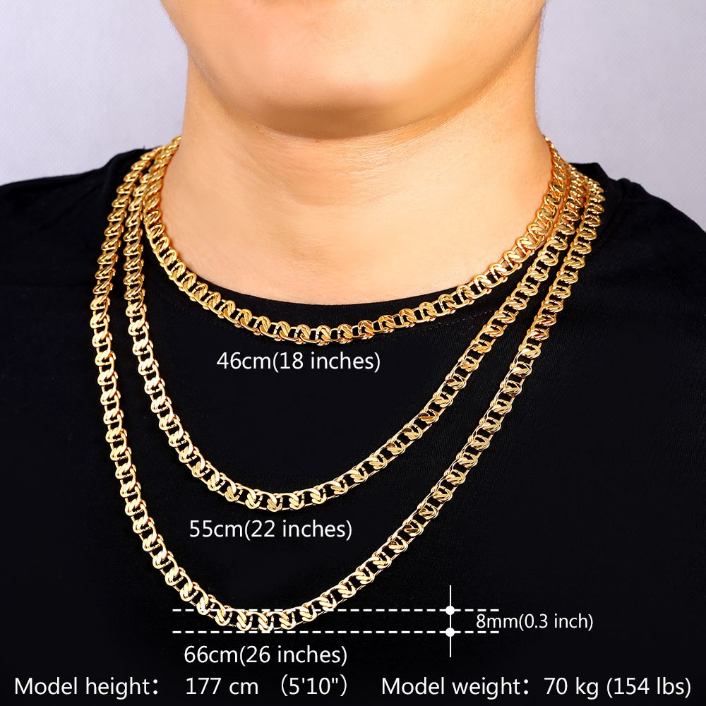 HTB1mwy7KVXXXXalaXXXq6xXFXXXp - U7 Unique Necklace Trendy Gold/Silver Color Chain Necklaces Men Jewelry N377
