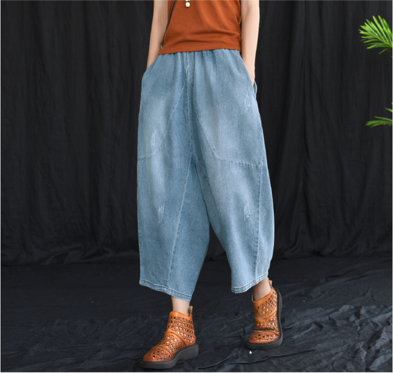 Summer Jeans Women Fashion Loose Elastic Waist Casual Denim Pants New Ladies Spliced pocket Vintage Trousers