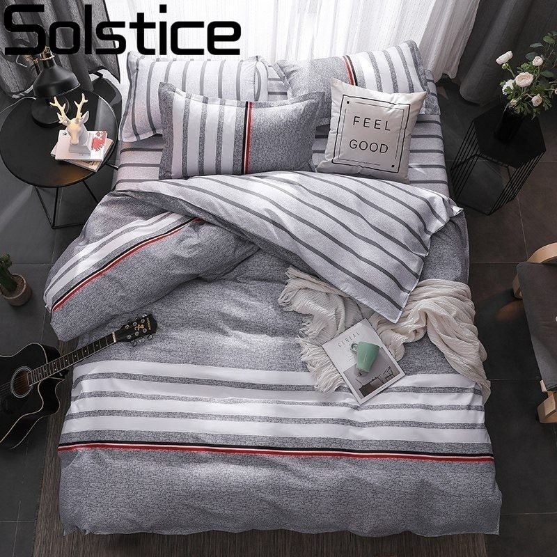 Solstice High-quality Fashion Stripe Style Comfortable Bedding Set Duvet Cover Queen King Size Bed Flat Sheet Pillowcase