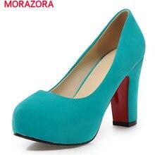 MORAZORA PU nubuck أحذية من الجلد امرأة مكتب سيدة أحذية الحفلات الضحلة الصلبة عالية الكعب 9 سنتيمتر مضخات النساء الموضة حجم كبير 32-43