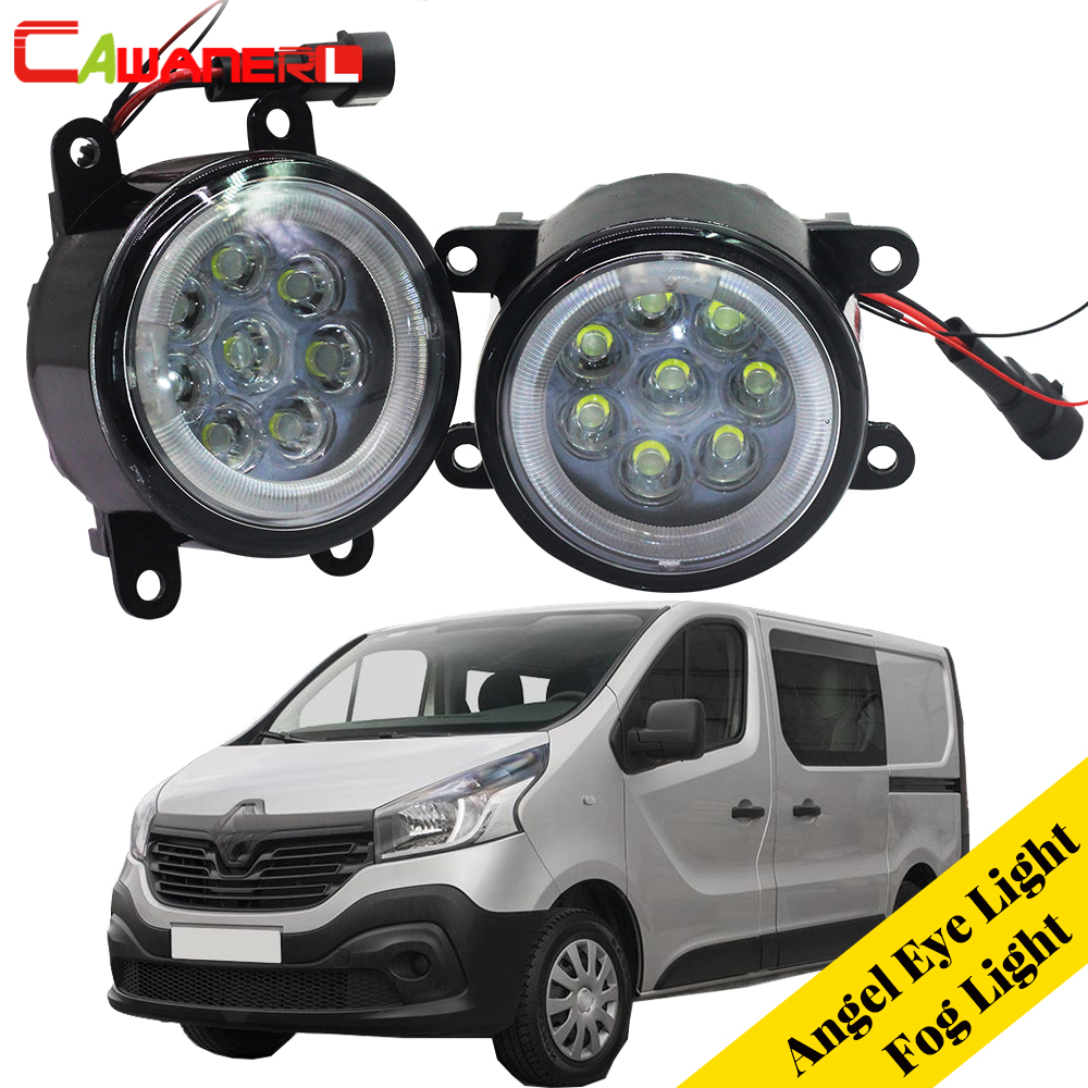 Cawanerl For 2003-2006 Renault Trafic 2.5L L4 Diesel Turbocharged Car LED Fog Light Angel Eye Daytime Running Light DRL 12V vtf18 4n1212