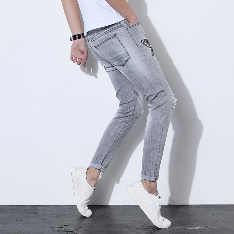 Field Base 2018 Spring Scratched Jeans Men Slim Fit Fashion Casual Embroidery High Quality Gray Denim Trousers Brand Clothing
