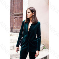 Dark Green Women Velvet Pants Suit women suit green work suit set