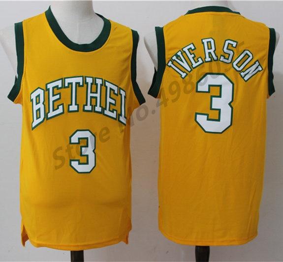 c1ea0fe9664a  3 Allen Iverson Bethel High School Retro Basketball Jersey Mens Stitched  Jerseys