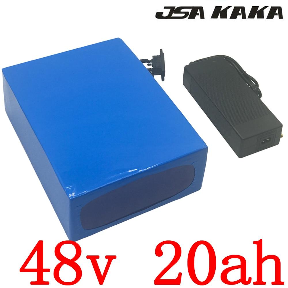 Engros 2stk / parti 48V 1000W batteri 48v 20ah litiumbatteri 48v 20ah elektrisk cykelbatteri med 30A BMS + 54.6v 2A oplader