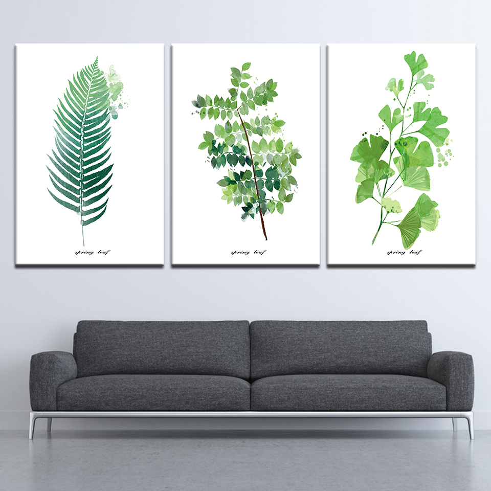 Canvas Painting Modern Minimalist Style Green Leaves