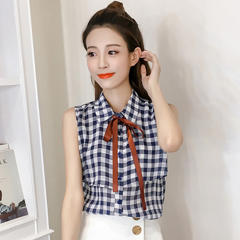 fa8c63a61a38d 2017 Summer Plaid Shirt Women s Chiffon Blouses Ruffled Bow Sleeveless  Female Tops Fashion Checkered Blusas Femme Chemise-in Blouses   Shirts from  Women s ...
