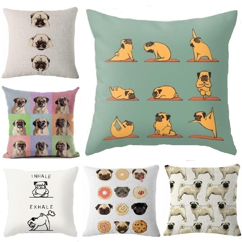 Yoga Pugs Cushion Cover Dog Printing Linen Throw Pillows Car Sofa Pillow Cover Home Decorative ...
