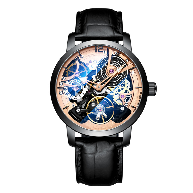 AILANG Original design watch automatic tourbillon wrist watches men montre homme mechanical Leather pilot diver Skeleton 2019 in Mechanical Watches from Watches