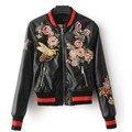 2017 Марка осень куртку назад цветы вышивка Кожаная куртка женщин лоскутное ребра рукав черный Мотоцикл пальто