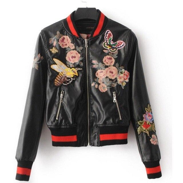 2017 Brand autumn bomber jacket back flowers embroidery Leather jacket women  patchwork rib sleeve black Motorcycle 4e06efd2d