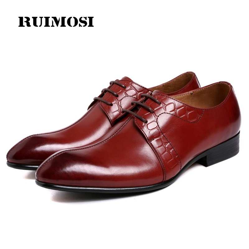 RUIMOSI Top Quality Formal Man Wedding Dress Shoes Genuine Leather Oxfords Brand Pointed Toe Derby Handmade Men's Footwear WD40