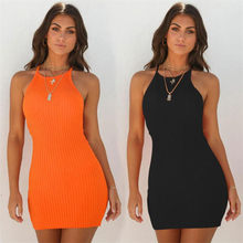60ba30939d5 2019 New Summer Femmes Orange Noir Sexy Robes O-cou Sans Manches Moulante Mini  Robe