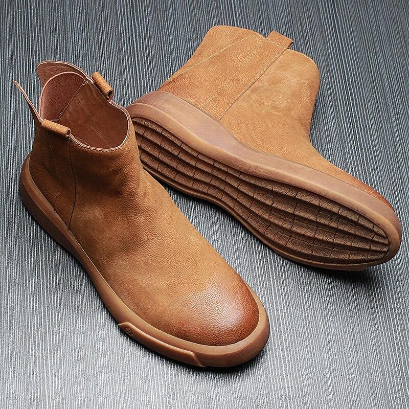 Botas Invierno Hombres Zapatos Chelsea Mens Gruesos Superior Vaquero naranja Los Inferiores Del Alta Martin Negro De Cortas Británico Cuero Zurriago 5tvqwp0
