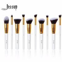 Jessup 10Pcs Professional Make Up Brushes Set Foundation Blusher Kabuki Powder Eyeshadow Blending Eyebrow Brushes White