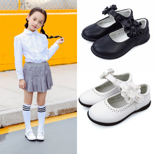 Autumn New Girls Princess Shoes For Kids School Black Leather Student Dress 24M 3-16T Pink White