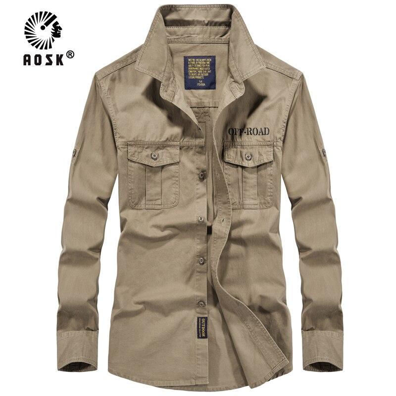 2019 Nouveau Hommes Coton Militaire Uniforme Style Chemises À Manches Longues Printemps Automne Mode Casual hommes de Chemise
