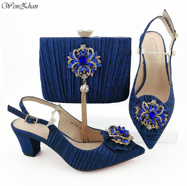 Excellent African Shoes And Bag Set Diamond decoration High Quality Italian Shoes And Bags To Match 38-43 WENZHAN B95-22