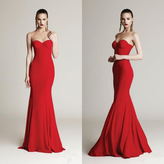 2015 Extravagent Red Evening Dresses Plus Size Sweetheart Mermaid ...