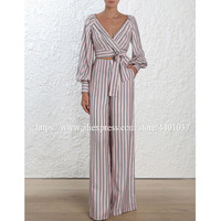 Women fashion V neck Lantern sleeve Stripes top And High waist wide leg pant trousers Set Striped lacing bowknot women's Sets