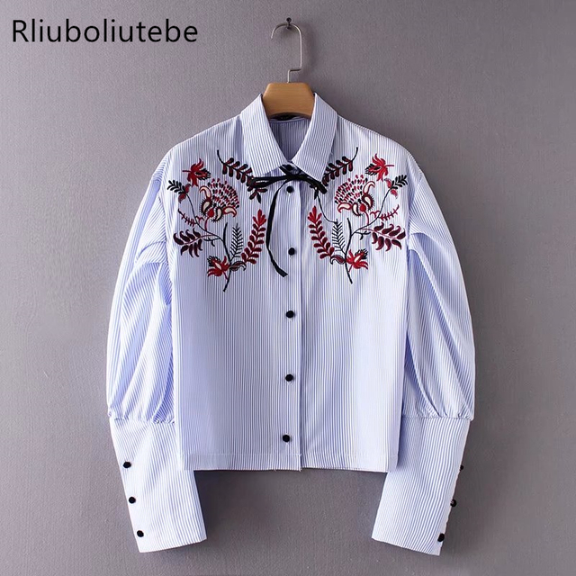 f0dfb6af Women Long Puff Sleeves Embroidery Striped Shirt Lace up Bow Top Vintage  Blouse Spring Summer Blouse office Shirt Fashion