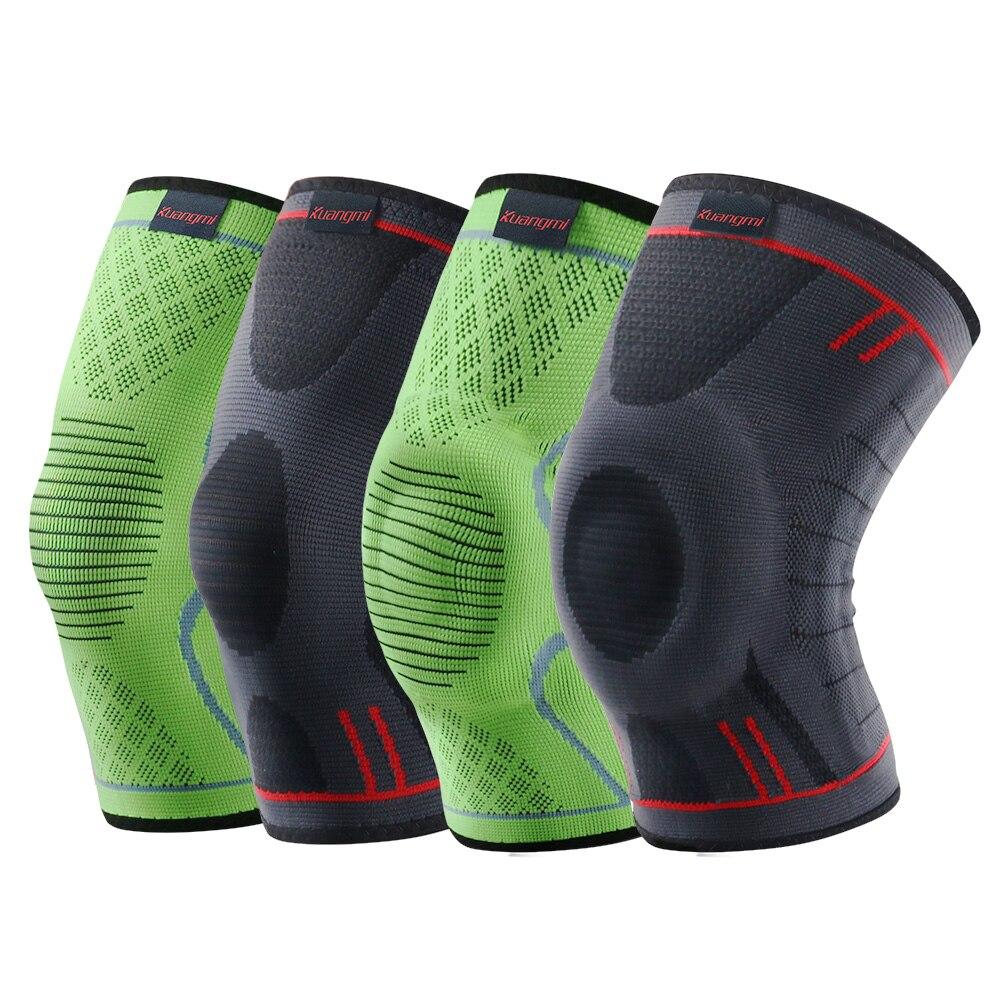 Kuangmi 1 unid de compresión de la rodilla de La Manga rodilla de baloncesto rodilla soporte voleibol deportes rótula elástico deportes Protector