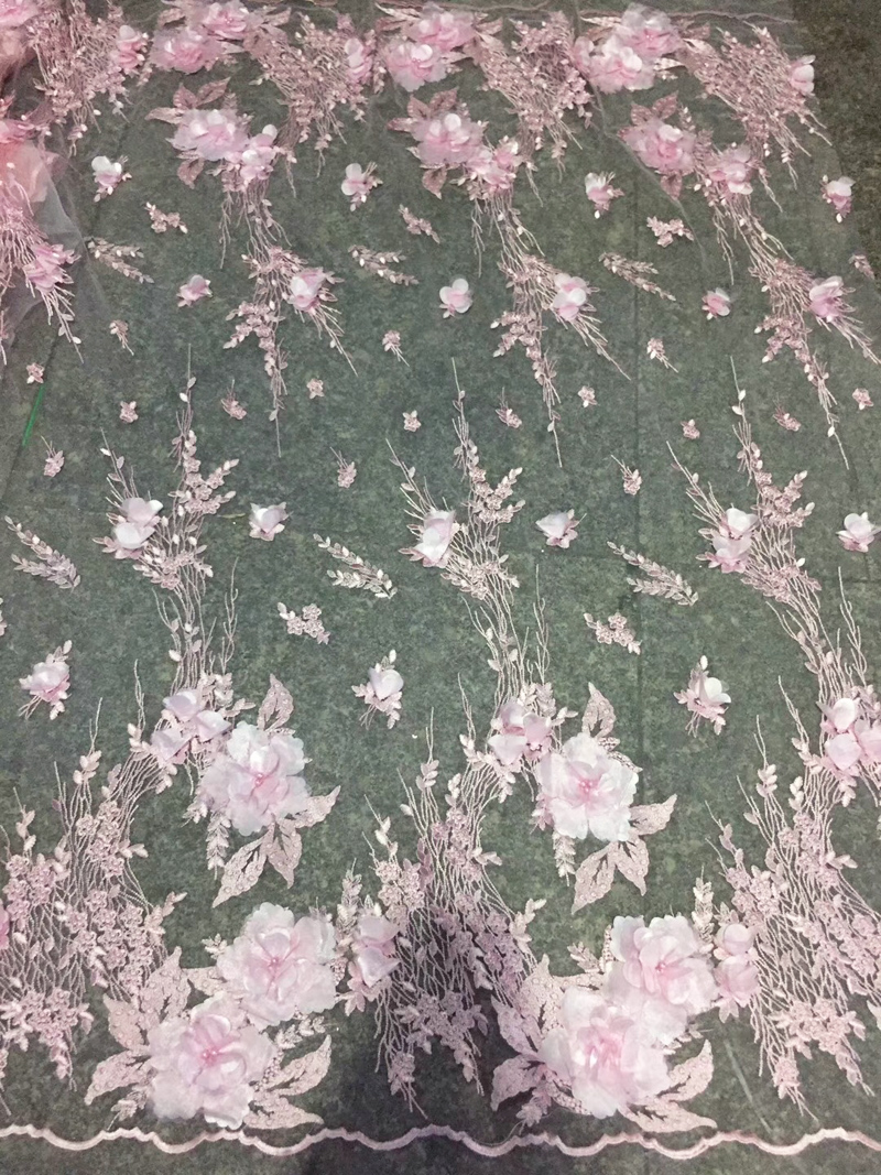 Free shipping 5yards pc high quality baby pink French net lace fabric 3D flowers African tulle