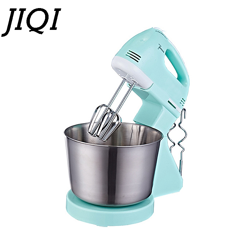 JIQI Electric cake batter Mixer Table stand food mixing Handheld mini Eggs Beater Blender Baking Whipping cream Machine 7 Speed цена