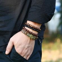 XIAOJINGLING 4pcs/set Handmade Wristband Bracelets for Men Vintage Yin Yang Brac