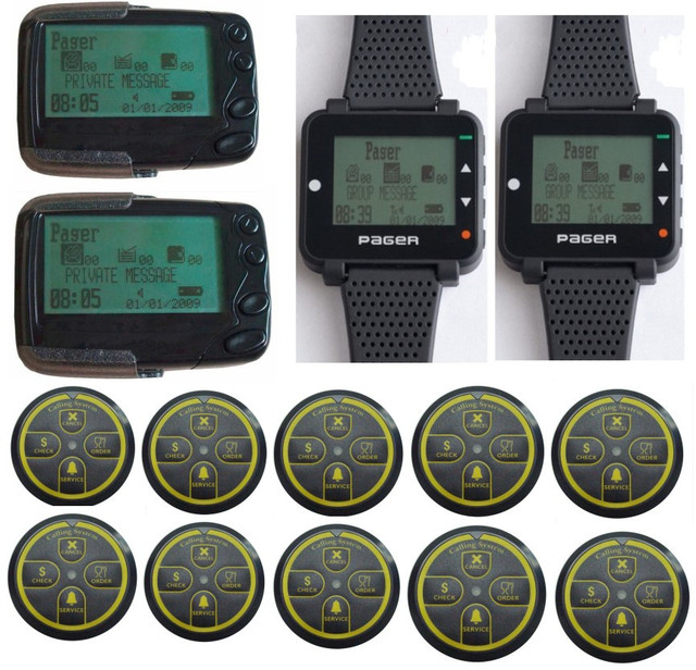 Free shipping! Quality pagers,10pcs POCSAG transmitter,2pcs alpha text message pager,2pcs pocsag Watch pagerm wireless caller