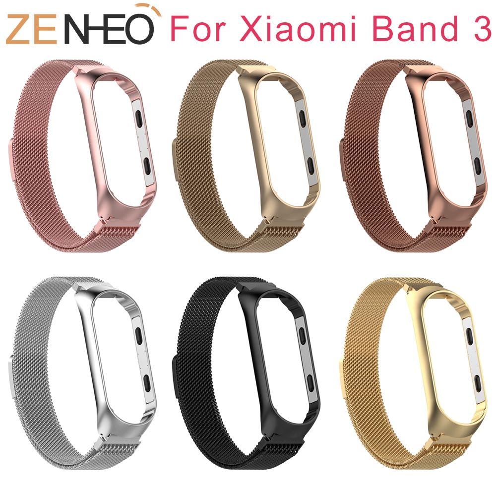 For Xiaomi Mi Band 3 Bracelet Strap For Mi Band 3 Wrist Band MiBand 3 Smart Watch Strap Belt Stainless Milanese Loop Wrist bands milanese loop bracelet for xiaomi mi band 2 strap stainless steel metal wrist band for xiaomi mi band2 replacement wristband