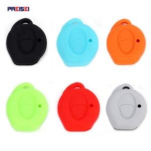 Image 1 - PREISEI 실리콘 키 커버 푸조 자동차 206 원격 키 수호자 가방 오렌지 블랙 레드 블루 그린 그레이 색상