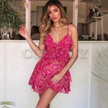 Cuerly Sexy ruffle print short strap sundress Summer chiffon women casual beach dress Party daily mini elegant vestidos