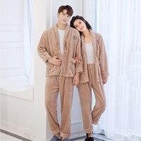 Winter Warm Lovers Flannel Pajama Pyjama Set Autumn Robe&Pants Sleep Suit Casual Home Clothes Long Sleeve Sleepwear Negligee