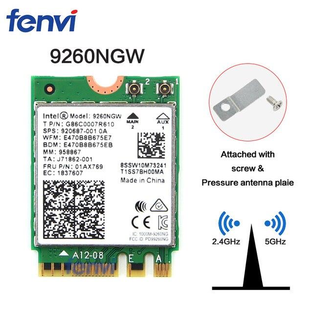 Çift Bant Kablosuz-AC 9260NGW NGFF 1.73 Gbps 802.11ac WiFi Kart + Bluetooth Için Intel 9260 8265NGW 7260AC NGFF 2.4G/5G Oyun Wlan