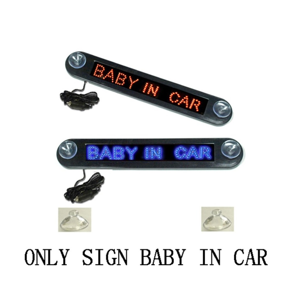 12V LED Car Sign Programmable Scrolling Red Message Sign Board With Remote Control Mini Advertising LED Screen 7x40 Dots