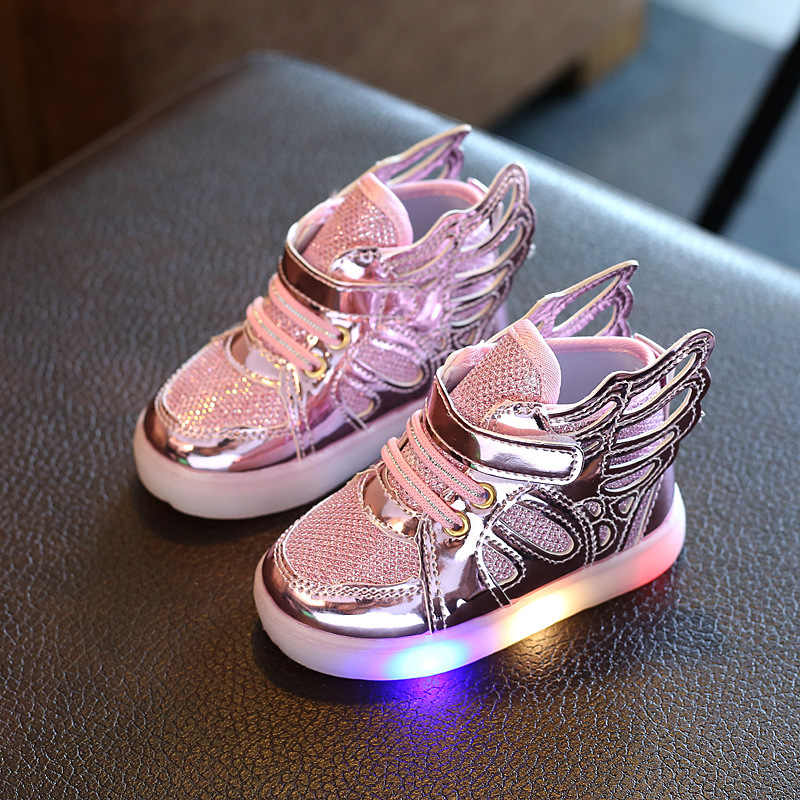 Children Shoes With LED Light 2017 Spring Boys Fashion Glowing Sneakers Girls Wings Canvas Flats Shoes Kids Light Up Shoes