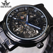 Hollow Engraving Skeleton Casual Designer Black Stainless Steel Watch Men Luxury Brand 2016 The New Automatic Mechanical Watches