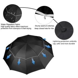 Image 3 - Double Golf Umbrella Rain Women Windproof 3Floding Large Male Women Umbrella Non Automatic Business Umbrella For Men Paraguas