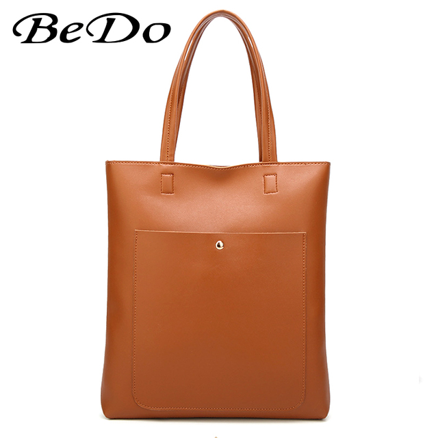 101e31780213 BeDo Large Capacity Shoulder Bag Women PU Leather Handbags Female Versatile  Simple Shopping Tote College School